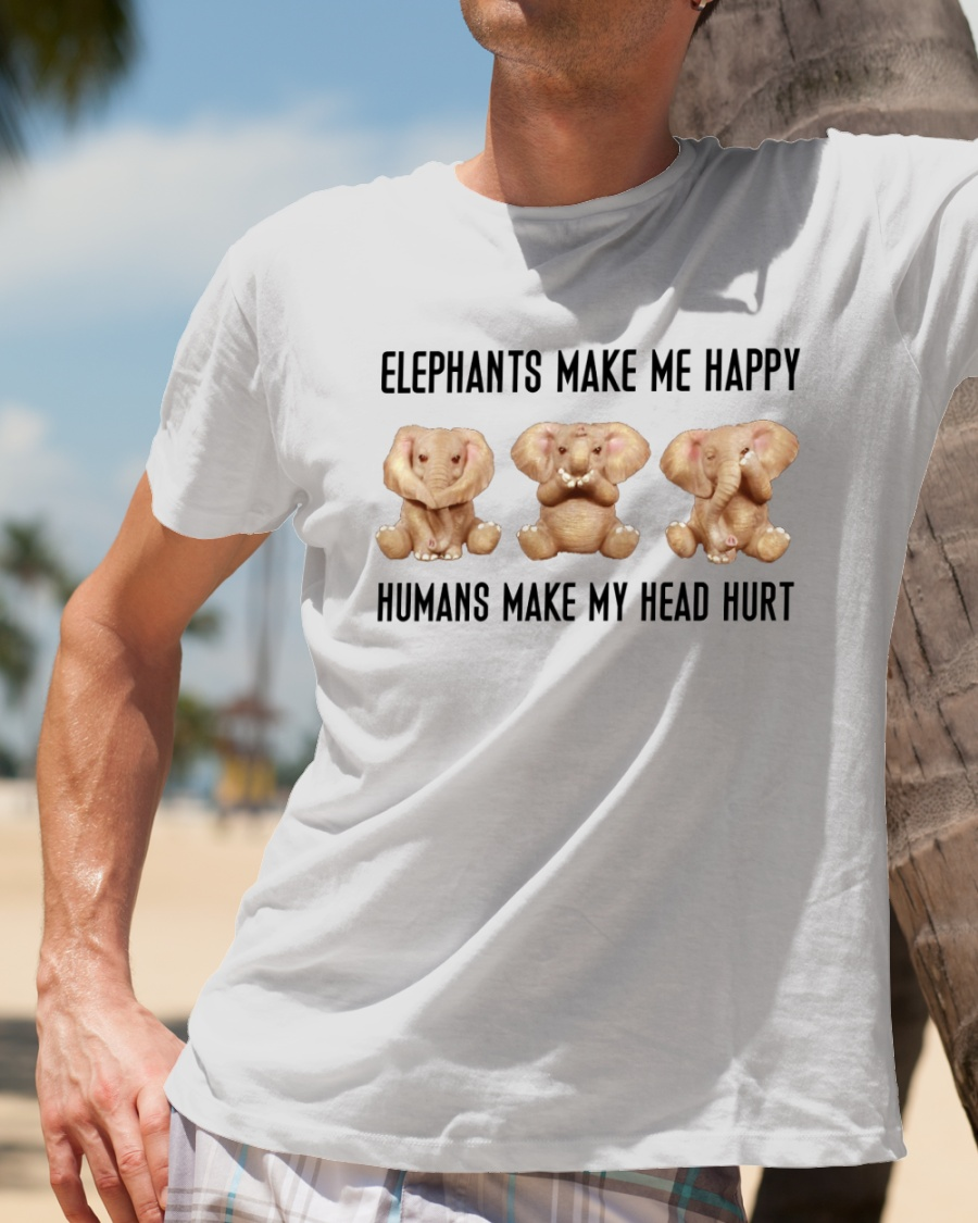 Pigs Make Me Happy Humans Make My Head Hurt T Shirt Men White S-6XL Made in USA