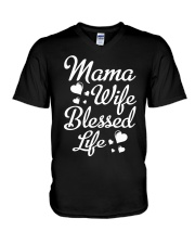 Mama Wife Blessed Life  V-Neck T-Shirt thumbnail