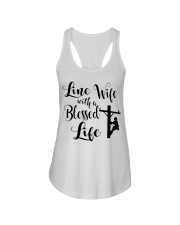 Line Wife With A Blessed Life Ladies Flowy Tank thumbnail