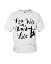 Line Wife With A Blessed Life Youth T-Shirt thumbnail