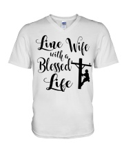 Line Wife With A Blessed Life V-Neck T-Shirt thumbnail