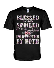 Blessed by God Spoiled By My Concrete Finisher V-Neck T-Shirt thumbnail