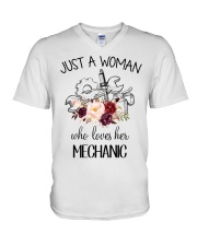 Just a woman who loves her Mechanic V-Neck T-Shirt thumbnail