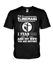 I'm a Lineman i fear god V-Neck T-Shirt thumbnail
