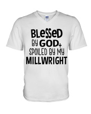 Blessed By God Spoiled by My Millwright V-Neck T-Shirt thumbnail