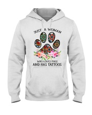 Just a woman who loves Pugs and has tattoos Hooded Sweatshirt thumbnail