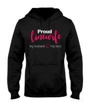 Proud Linewife my husband my hero Hooded Sweatshirt front