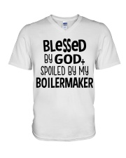 Blessed By God Spoiled by My Boilermaker V-Neck T-Shirt thumbnail
