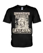 Unknown heroes Lineman V-Neck T-Shirt thumbnail