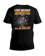 Linework youe first mistake will be your last V-Neck T-Shirt thumbnail