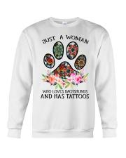 Just a woman who loves Dachshunds and has tattoos Crewneck Sweatshirt thumbnail