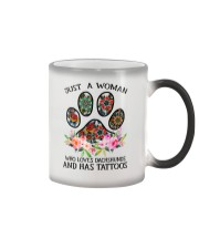 Just a woman who loves Dachshunds and has tattoos Color Changing Mug thumbnail