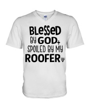Blessed By God Spoiled by My Roofer V-Neck T-Shirt thumbnail