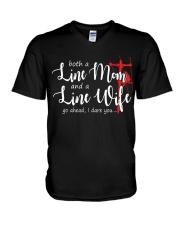 Line mom Line wife V-Neck T-Shirt thumbnail
