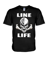 Lineman Life Skull V-Neck T-Shirt tile