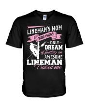 Lineman's Mom Some People On Dream V-Neck T-Shirt thumbnail
