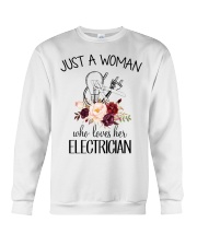 Just a woman who loves her Electrician Crewneck Sweatshirt thumbnail