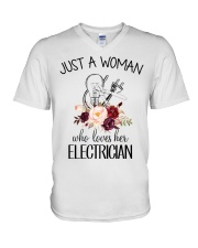 Just a woman who loves her Electrician V-Neck T-Shirt thumbnail