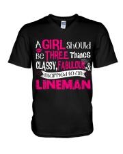 Lineman Girl V-Neck T-Shirt thumbnail