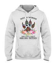 Just a woman who loves Wolfs and has tattoos Hooded Sweatshirt thumbnail