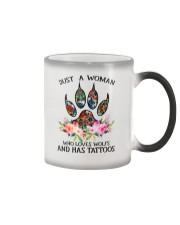 Just a woman who loves Wolfs and has tattoos Color Changing Mug thumbnail
