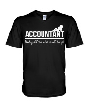 Accountant beating off the ladies is half the job V-Neck T-Shirt thumbnail
