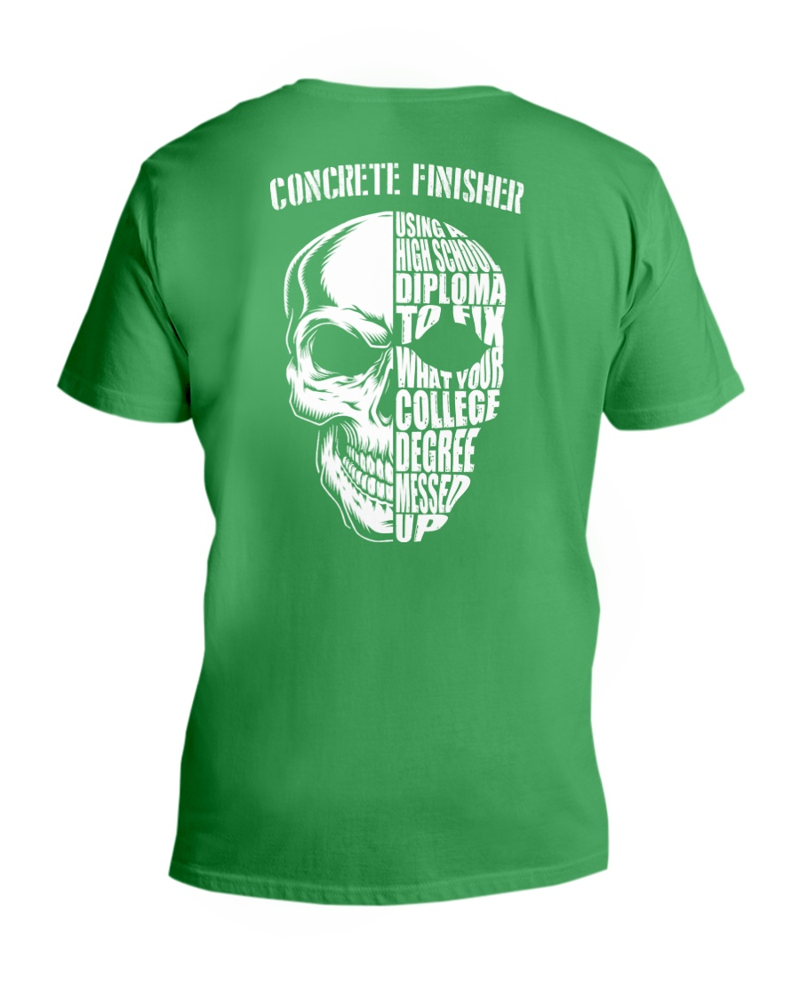 Concrete Finisher Skull V-Neck T-Shirt