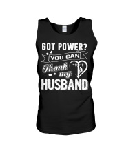 Got powe you can thank my husband Unisex Tank tile