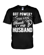 Got powe you can thank my husband V-Neck T-Shirt tile