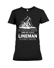Lineman in dirty boots Premium Fit Ladies Tee thumbnail