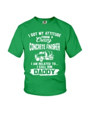 I got my attitude from a crazy Concrete Finisher Youth T-Shirt front