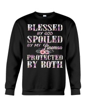 Blessed by God Spoiled By My Lineman Crewneck Sweatshirt thumbnail