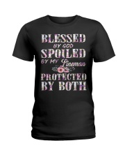 Blessed by God Spoiled By My Lineman Ladies T-Shirt front