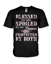Blessed by God Spoiled By My Lineman V-Neck T-Shirt thumbnail