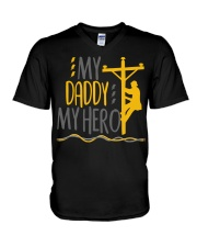 My Daddy My Hero Lineman 2020 V-Neck T-Shirt tile