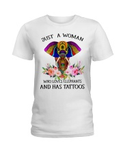 Just a woman who loves Elephants and has tattoos Ladies T-Shirt thumbnail