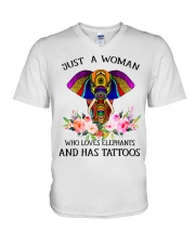 Just a woman who loves Elephants and has tattoos V-Neck T-Shirt thumbnail