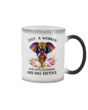 Just a woman who loves Elephants and has tattoos Color Changing Mug thumbnail