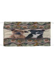 Monica Staffordshire Bull Terrier boho pattern Cloth face mask front