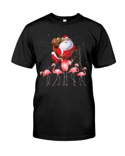 Flamingo and santa black shirt