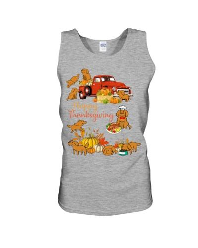 SHN Happy Thanksgiving truck Golden Retriever