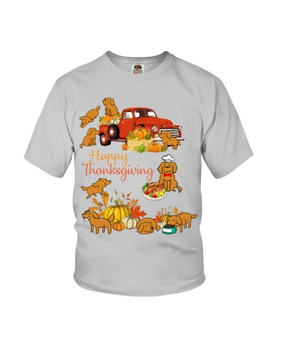SHN Happy Thanksgiving truck Golden Retriever
