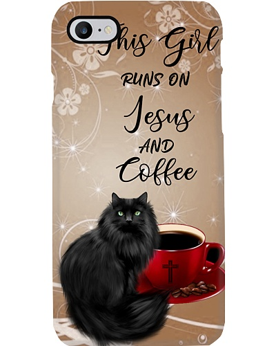 SHN Girl runs on Jesus and coffee Cat phone case