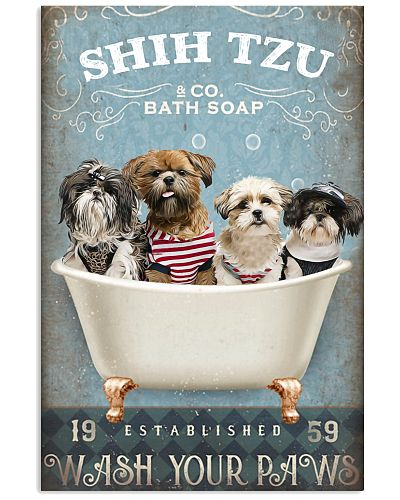 Shih tzu wash your paws poster