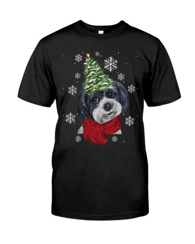 Shih tzu christmas tree hat