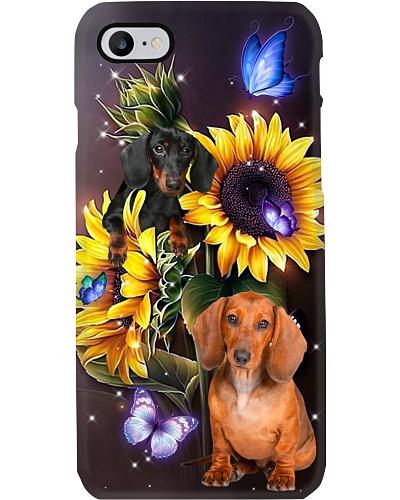 Dachshund dark sunflower phone case