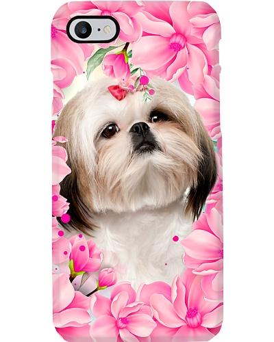 Shih tzu pink flower phone case