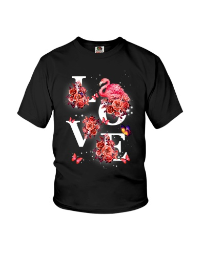 Flamingos love with red flower shirt