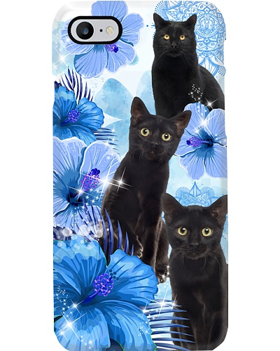 Blue Flower Mandala Black Cat