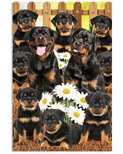 Happy Family Labrador Rottweiler Poster